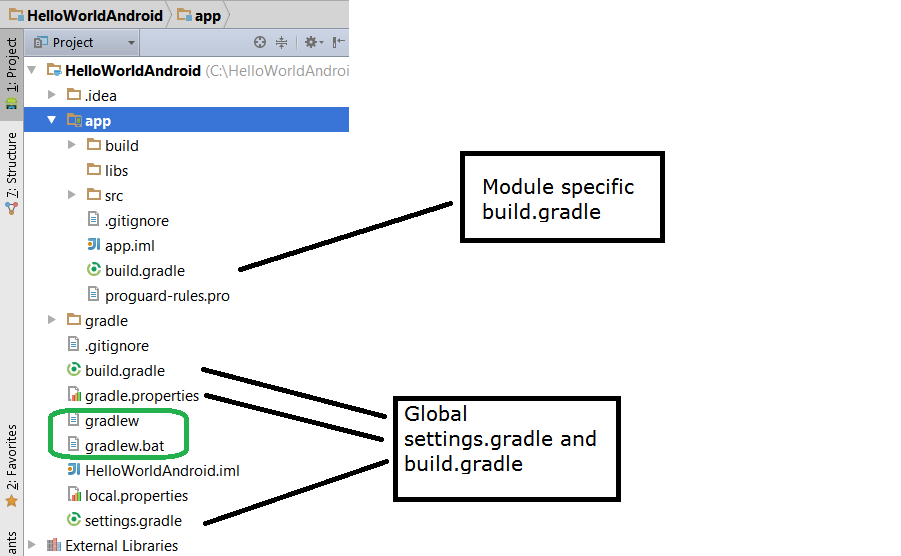 Content of Android Studio